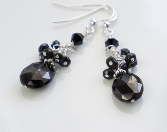 Black spinel sterling silver earrings black spinel cluster drop earrings black silver handmade semiprecious stone earrings drops