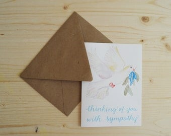 Sympathy Card- With Sympathy Card- Dove Sympathy Card- Thinking of You Card- Difficult Time Card