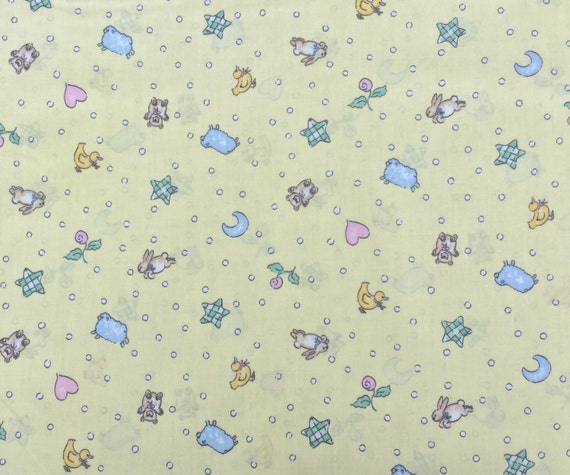 Girl 39 s nursery print fabric with baby by omasfabricandgifts for Nursery print fabric