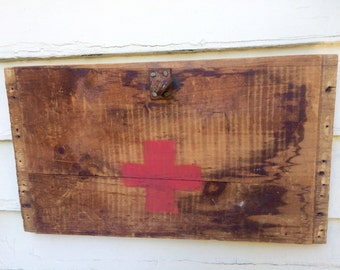 Rustic Wood Reclaimed Art Red Cross Symbol