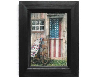 American Rocker, Patriotic Picture, Front Porch Picture, Art Print, Wall Decor, Country Decor, Handmade, 7X9, Custom Wood Frame, Made in USA