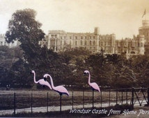 BOGO SALE- original paper collage on vintage postcard.