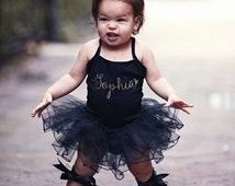 Personalized Gold Sparkle Name Leotard Tutu, Birthday tutu, birthday outfit, Baby Girl Clothes, cake smash outfit
