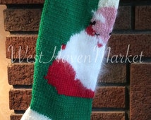 Vintage Santa Clause Christmas Stocking - Personalized and Hand Knit - 100% PURE WOOL