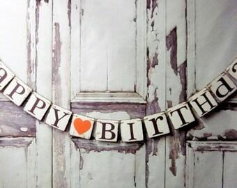 Happy birthday Banners BIRTHDAY SIGNS Rustic Birthday Decorations Birthday garlands