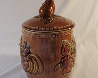 Cookie Jar ~  Vintage Brown Embossed Fruit,  Apples, Pears, Cherries, Bananas