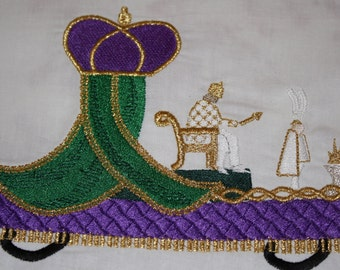 Mardi Gras King Float machine embroidery design