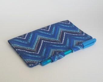 Royal Blue Checkbook Holder, Chevron Checkbook Cover, Cobalt Blue Chevron, Fabric Checkbook Holder, Cute Check Book Cover, Gift for Her