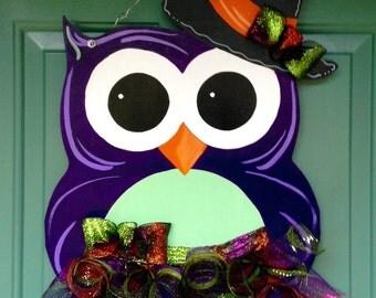 Halloween Owl Door Hanger, Halloween Door Hanger, Custom Door Hanger, Fall Home Decor, Halloween Decor, Witch Door Hanger