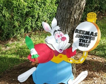 Alice in wonderland/3ft white rabbit/ party prop/room decroation/ wall art/yard sign