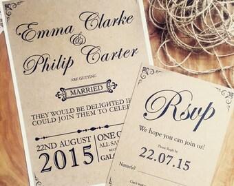 Handmade Wedding Invitation, Rustic wedding invitation, Vintage wedding invitation, Shabby chic invitation, lace wedding invitation