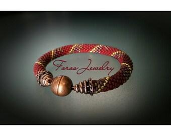 """Bead Crochet Bracelet """"Amberle"""" (Elegant Bracelet, Beaded Bracelet)"""