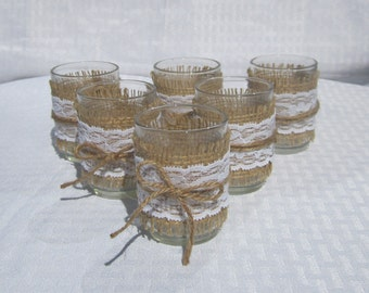 """Set of 6 Candle Holders - Burlap and Lace tied with Natural Jute cord - 2.5"""" tall x 2"""" wide"""