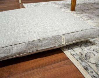 Floor Cushion Cover with handle - 100% European pure linen, with invisible zipper, natural colour linen shown in photos, Available 8 colours