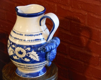 Ornate WCL Pitcher, Oatmeal and Dark Blue. Floral and Bead Design.