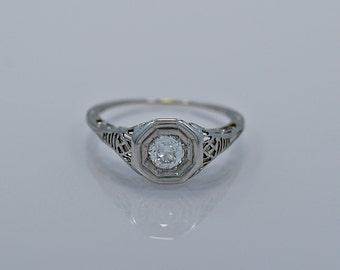 Platinum Art Deco .70ct. Diamond Engagement Ring - GIA Certificate- J34433