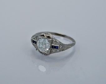 1.07ct. Diamond, Sapphire & Platinum Art Deco Engagement Ring- J34364