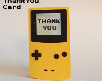 Yellow Gameboy Thank You Cards - Yellow Thank You Cards - Retro Thank You Cards - Unique Thank You Cards