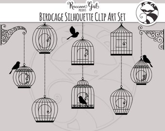 50% OFF Silhouette Birdcage Clip Art Set - Personal & Commercial Use