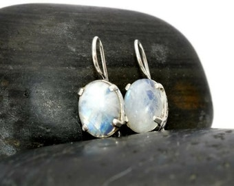 925 Rainbow Moonstonoe Drop Earrings - Gemstone Rainbow Moonstone Silver Dangle Earrings - Gemstone 925 Drop Earrings