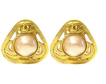 CHANEL, earrings triangular vintage