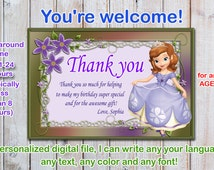 Sophia the first  thank you card, princess sofia thank you card, sofia the first thank you card - Digital file