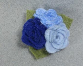 Flower Brooch, Blue Brooch, Felt Brooch, Flower Pin, Blue Pin, Felt Pin, Fabric Flower Pin, Fabric Flower Brooch, Blue Jewelry, Felt Jewelry