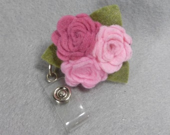 Pink Flower ID Badge Reel Made to Order-Name Badge Holder -Upcycled-Recycled - Repurposed - ID Badge Holder - Retractable Badge Reel - Clip