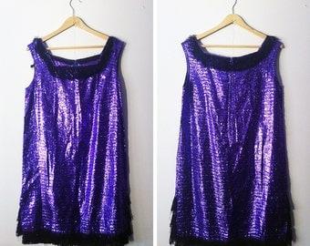 Vintage Purple Sparkly Flapper Dress