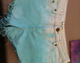 Blue Ombre gold sequin shorts