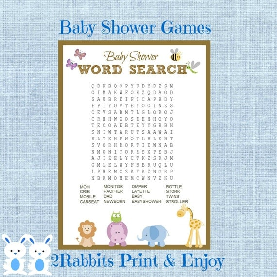 Safari Jungle Animal Baby Shower Word Search Game Baby Shower Crossword  Puzzle Game  Instant Download   Baby Shower Related Words
