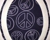 Two (2) easy to apply Tat Patches!  1 is a dark blue Peace Sign print, and 2 is a smaller Royal Blue Tat Patch.  Patches go INSIDE the hole!