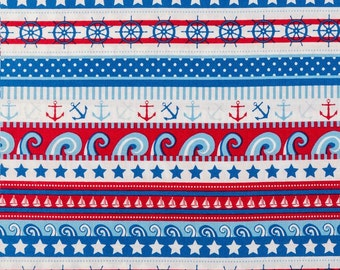 Red white and blue Anchors aweigh Fabric 100% Cotton Quilting Apparel Crafts