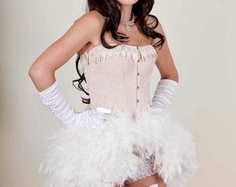 Cream Burlesque Feather Bustle Dress - Marie Antionette Burlesque Costume