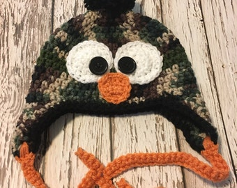 Camo Bird Hat with Earflaps and feet, infant cold weather hat, 6-12 month photo prop