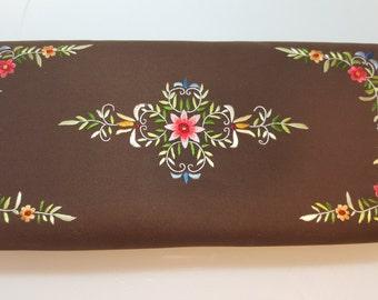 FREE  SHIPPING   Vintage Hand Embroidery  Silk handbag