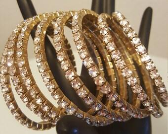 FREE  SHIPPING   Vintage Diamond Rhinestone Bracelet