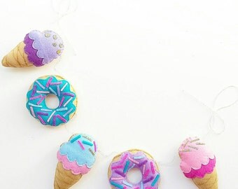 READY TO SEND Donut and icecream garland in pinks, purples and blues