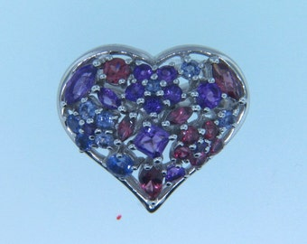 Beautiful!! Sterling Silver Heart Shape Multicolored Gemstones Ring