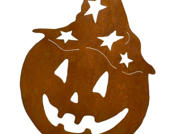Jack-o-Lantern with Witch Hat Metal Yard Stake, Halloween Yard Art GS90
