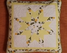 The pillowcase on the pillow - Handmade pillowcase - Patchwork Quilted pillowcase - Pillow Cover - Patchwork Pillow