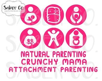 Natural Parenting, Crunchy Mama, Attachment Parenting Set Car Decal Vinyl Sticker