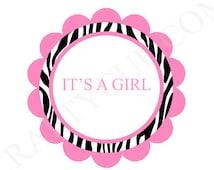 Pink Zebra Print Goody Bag Tags, Pink Zebra Print Favor Tags, Zebra Print Baby Shower Tags