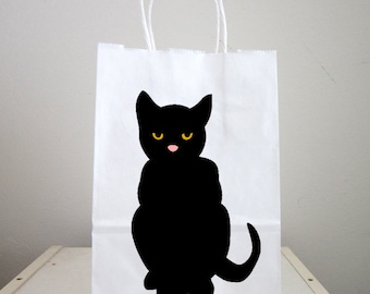 Black Cat Goody Bags, Black Cat Favor Bags, Black Cat Gift Bags, Halloween Goody Bags