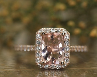 Elongated 1.50ct Cushion Cut Morganite and Diamond Halo Engagement Ring in Rose Gold, 1.50ct Center, Fit-Flush Design, Halo Style, Madison
