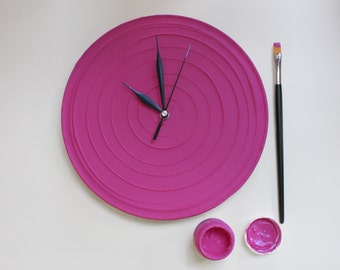 MAGENTA PINK CLOCK, magenta pink wall clock, magenta home decor, Modern Wall Clock, Unique Wall Clock, Valentines Day Gift for Her