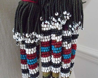 Vintage Beaded Headdress Long plaited with heavy beaded tassels - Central Asia - National Costume