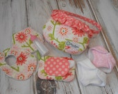 Just Like Mommy - Chic Bitty Baby Diaper Bag, Diapers, Feeding Set, Wipes and Case - Clementine by Heather Bailey for Riley Blake Designs