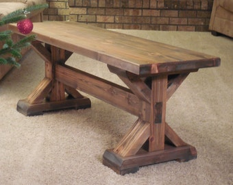 Rustic Wooden Pedestal Bench