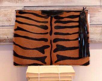 Zebra print clutch, calf hair clutch, zebra pattern clutch, oversized evening purse